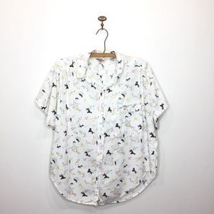 Vintage button down dog walking shirt boxy L